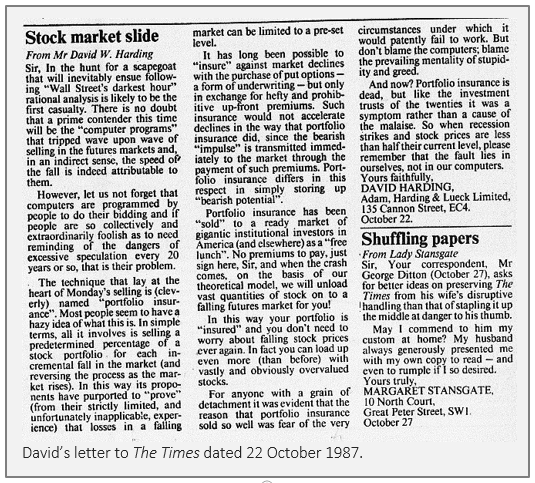 David's letter to The Times, dated 22 October 1987